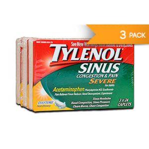 Tylenol Severe Sinus congestion & pain. 24 CT / 3 PK