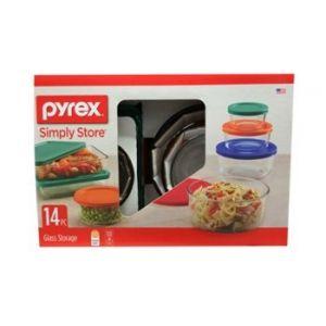 Pyrex Storage  Plus 14PC Glass Storage with Color Lids
