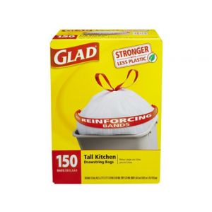 Glad Tall Kitchen Drawstring Garbage Bags  13  Gallon - 150 Count