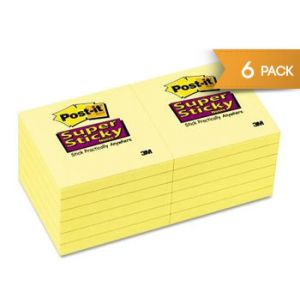 3M 4x4 Post -it Notes 6=Pads Super Sticky