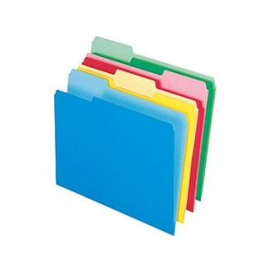 Colored Top-Tab File Folders, 1/3 Cut, Assorted, Letter-Size, 24/Pack