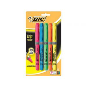 BIC Brite Liner Grip Highlighters, Assorted - 5 Pack