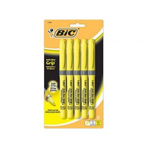 BIC Brite Liner Grip Highlighters, Yellow - 5 Pack