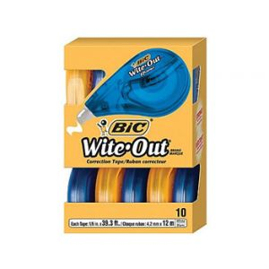 BIC Wite-Out Brand EZ  Correction Tape, 10/Pack