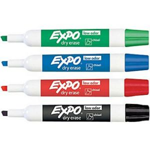 Expo Low Odor Chisel Tip Dry-Erase Markers, Assorted Primary, 4 Pack