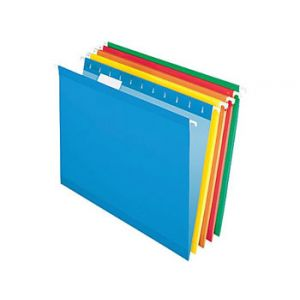Pendaflex 5 Tab Hanging File Folders, Letter, Assorted Colors 2, 25/Box