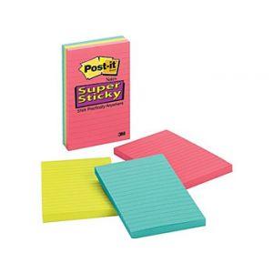Post-it Super Sticky 4 x 6 Line-Ruled Jewel Pop Notes - 3 Pads