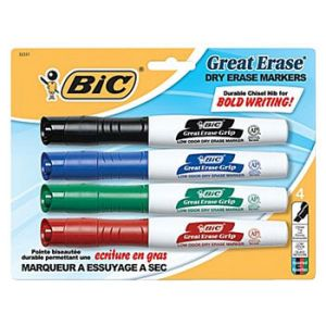 BIC Great Erase Dry-Erase Markers with Grip Zone, Assorted, Chisel Tip - 4 Pack