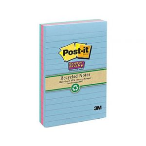 Post-it Super Sticky 4 x 6 Recycled Tropic Breeze Notes - 3 Pack
