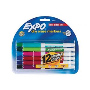 Expo Low Odor Dry Erase Markers, Assorted, Fine Point - 12 Pack
