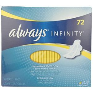 Always Infinity Regular Pads with Wings - 72 Pack