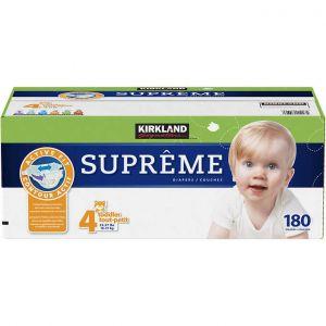 Kirkland Signature Supreme Diapers Size 4; Quantity: 180