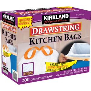 Kirkland Signature 13 Gallon White Drawstring Kitchen Bag - 200 Pack