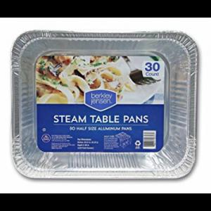 Berkley & Jensen Half-Size Steam Table Pans -  30 Pack