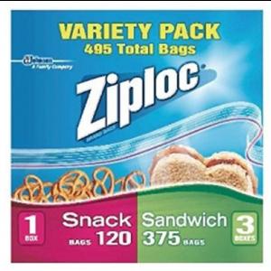 Ziploc 325 Sandwich Bags - 120 Snack Bags Variety Pack