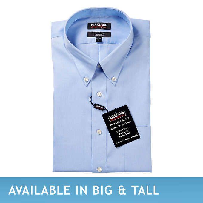 Kirkland Signature Mens Button Down Dress Shirt Blue ~ White Buttoned Collar