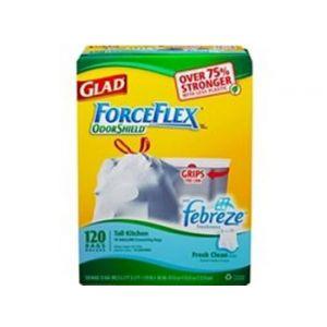 Glad Force Flex Odor Shield Lemon Drawstring 13 Gallon - 120 CT