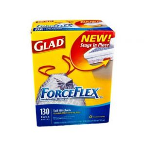 Glad Force Flex Tall Kitchen Bags 130 Count 13 Gallon
