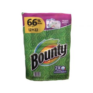 Bounty Super Roll Print 74 Sheets - 12 Pack