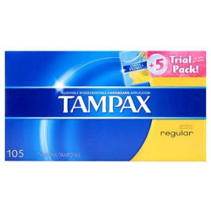 Tampax Regular And Super - 100 Pack + 5 Pack Pearl