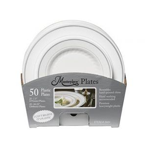 Masterpiece White Plastic Plate Combo Pack - 50 Plates