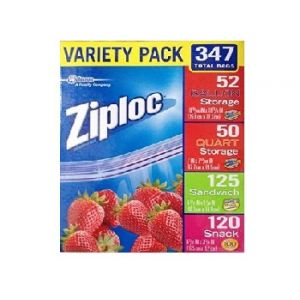Ziploc Storage Variety Bags 495CT Sand/Snack/QT/Gall
