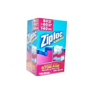 Ziploc EZ Zipper Slider Bag Variety Pack 80 Quart + 60 Gallon