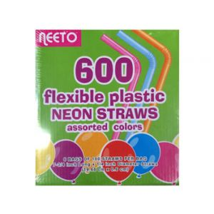 Neeto Flexible Plastic Neon Straws Assorted Colors - 600 Pack