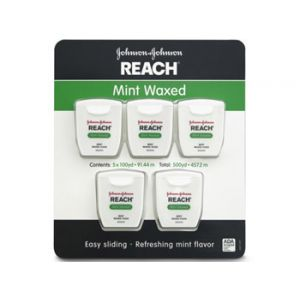 Johnson & Johnson Reach Dental Floss Mint Waxed 100 Yard - 5 Pack