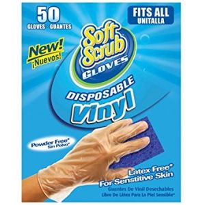 Soft Scrub One Size Disposable Vinyl Gloves - 50 Pack