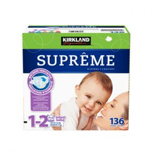 Kirkland Signature Supreme Diapers Size 1-2; Quantity: 136