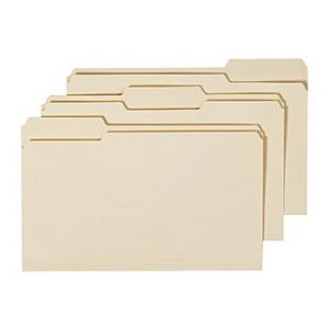 Manila File Folders, Legal, 3 Tab, Assorted Position, 100/Box