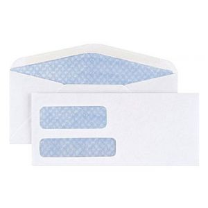 #9, Standard Invoice Double Window Security-Tint Gummed Envelopes, 500/Box