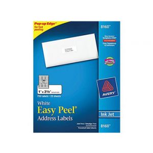 Avery 8160 White Inkjet Address Labels with Easy Peel 750