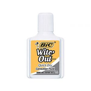 BIC Wite-Out Brand Quick Dry Correction Fluid, White, 3/Pack