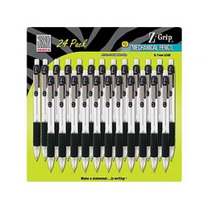 Zebra Z-Grip Mechanical Pencils, .7mm, Black - 24 Pack