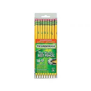 Dixon Ticonderoga Presharpened Pencil, Yellow - 18 Pack