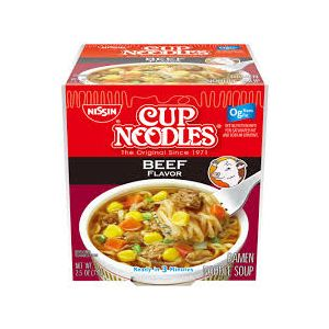 NISSIN CUP NOODLES BEEF 12/2.25 OZ.