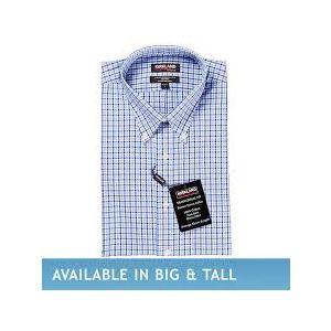 Kirkland Signature Men's Button Down Dress Shirt, Blue Navy Plaid
