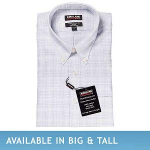 Kirkland Signature Men's Button Down Dress Shirt, Gray Check