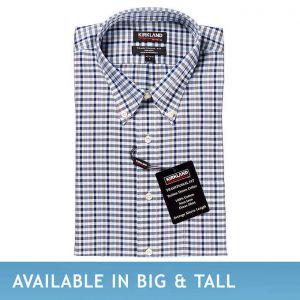 Kirkland Signature Men's Button Down Dress Shirt, Blue Gray Check