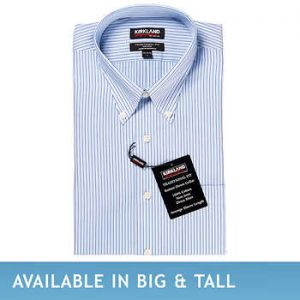 Kirkland Signature Men's Button Down Dress Shirt, Blue Multi Stripe