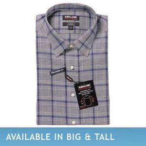 Kirkland Signature Men's Tailored Fit Dress Shirt, Black Navy Plaid