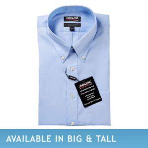 Kirkland Signature Men's Button Down Dress Shirt, Blue