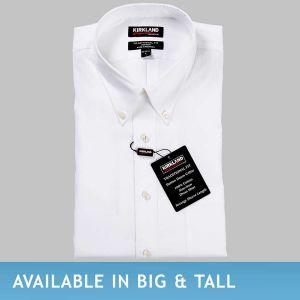 Kirkland Signature Men's Button Down Dress Shirt, White