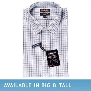 Kirkland Signature Men's Tailored Fit Dress Shirt, Gray Plaid