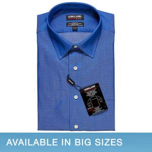 Kirkland Signature Men's Tailored Fit Dress Shirt, Blue Diamond