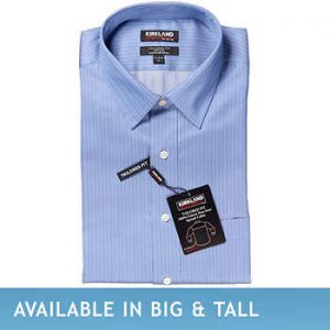 Kirkland Signature Men's Tailored Fit Dress Shirt, Blue Herringbone Stripe