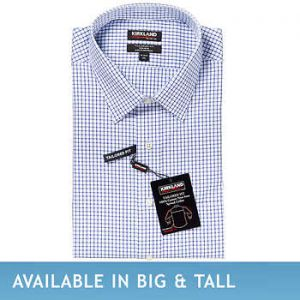 Kirkland Signature Men's Tailored Fit Dress Shirt, Blue Check