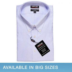 Kirkland Signature Men's Button Down Dress Shirt, Lavender Mini Check